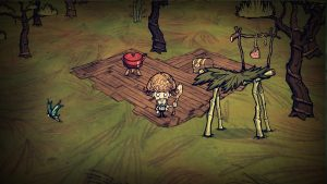 Don't starve gothic art style with character holding a spear and wearing a helmet, standing in a basic base with a stove, chest, and meat drying rack