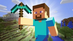Minecraft avatar made up of blocks holding a diamond pickaxe with a Minecraft world in the background which is also made up of blocks