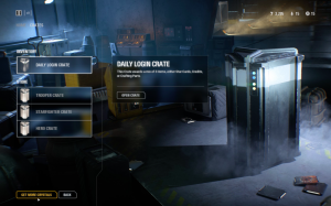 Menu showing available loot boxes that can be opened by the player