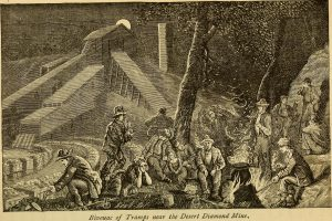 """A sketch of a group of men sitting around a fire in front of a mining building. They are cooking something in a large black pot. The moon is just rising over a roof. At the bottom of the image text reads, """"Bivouac of Tramps near the Desert Diamond Mines."""""""