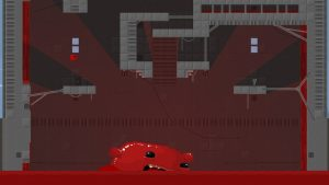 Super Meat Boy leaping on platform over a sea of red