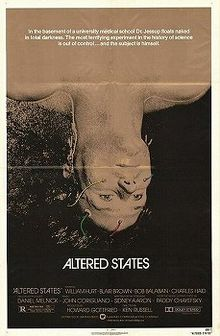 "Movie poster with a man laying in a sensory deprivation tank for a 1980 film titled ""Altered States"" about altered states of consciousness."