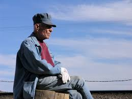An older man sits cross-legged on fencepost in front of a blue sky with clouds. He is wearing a red T-shirt with a denim shirt over it and jeans. He is also wearing white gloves and a blue conductor hat.