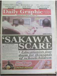 """Image of the front of a Ghananaian newspaper """"Daily Graphic"""" with the headline story """"Sakawa Scare"""" obtained from """"Sakawa Rituals and Cyberfraud in Ghanaian Popular Video Movies"""" by Joseph Oduro-Frimpong (2014)"""