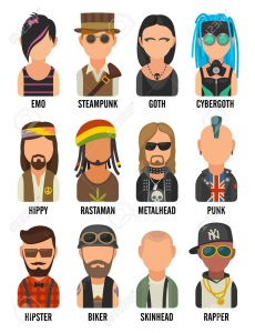 Illustration showing examples of subculture stereotypes featuring hipster, raper, emo, rastafarian, punk, biker, goth, hippy, metalhead, steampunk, skinhead, cybergoth on a white background