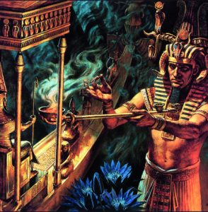 Colorful painting of an Egyptian using smoke and herbs during a traditional ceremony with blue flowers and a ritualistic boat like figure.