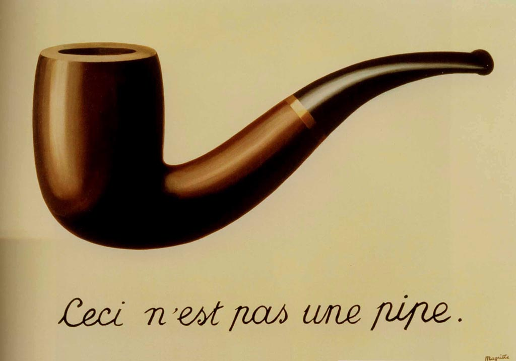 "Oil painting of a smoking pipe on a beige background. Below it are the words ""this is not a pipe"" in French."