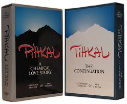 Two books with similar covers featuring a silhouette of a mountain, titled PiHKAL and TiHKAL
