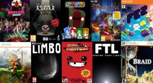 Image with 10 popular indie games store art. Games are hotline miami, binding of issac, magica, fez, bastion, limbo super meat boy, faster than light, and braid