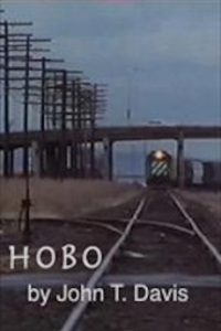 """Image looking straight down train tracks with a train coming towards the camera. There is a bridge over the train with power lines in the left top corner. The bottom text reads, """"HOBO by John T. Davis"""""""