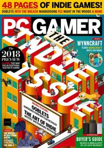 Cover of PC magazine showing various indie characters standing on INDIE ISSUE letters