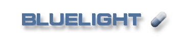 Logo of the website bluelight.org, featuring the name of the site and a small capsule