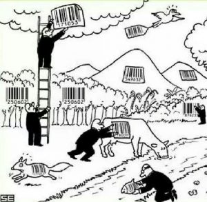 Comic depicting men in suits placing bar codes over pieces of nature, representing how common items can be turned for a profit