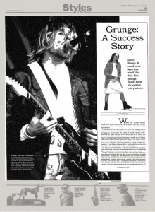 "Cover page of ""Grunge: A Success Story,"" an article about the ""success"" of grunge, featuring prominently an image of Kurt Cobain"