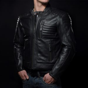 Model wearing a leather motorcylce jacket