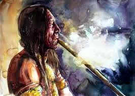 A colorful painting of a Native American man smoking from a ceremonial pipe.