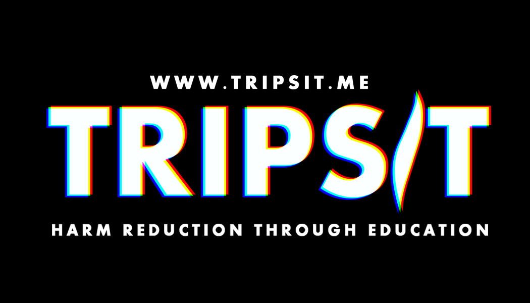 "Black and white logo of website tripsite.me, featuring the phrase ""harm reduction through education"""