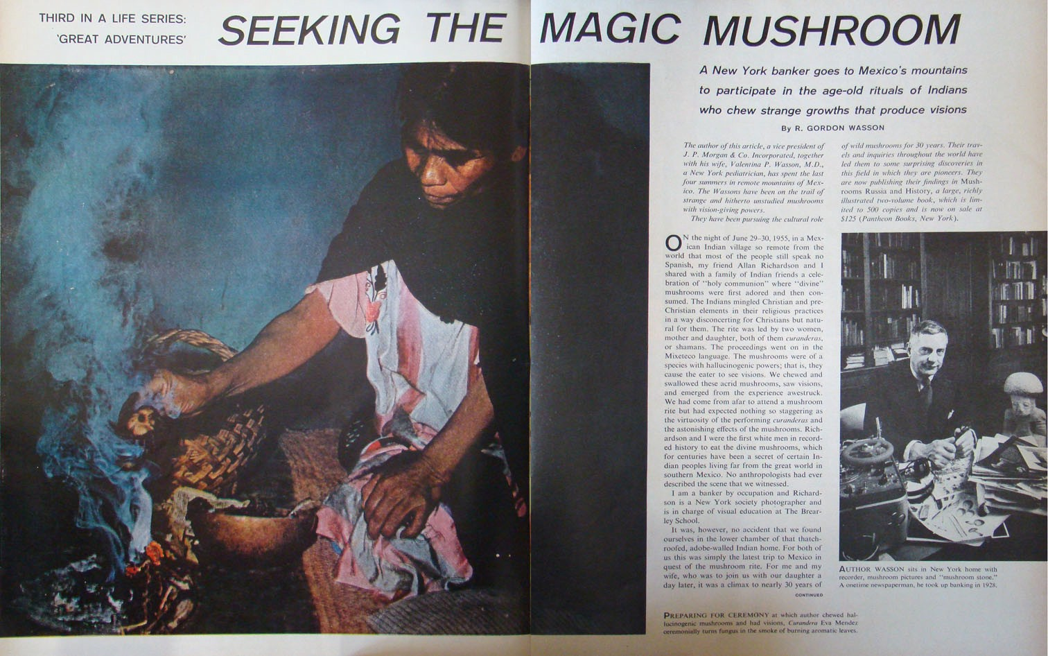 First pages of an aritlce in Life magazine featureing a picture of a woman waving incense