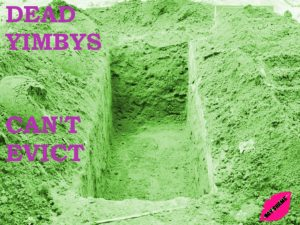 """A shallow grave with the text """"Dead YIMBYS can't evict"""" in pink. The rest is greenscale."""