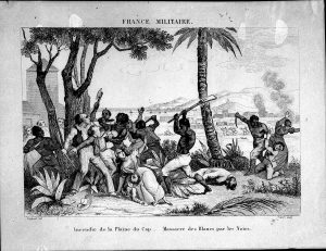 A medium size melee takes place with a bay in the background. A handful of Haitians are attacking colonists and winning.